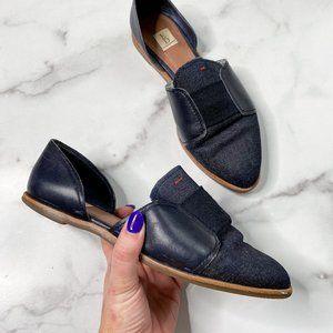 ELLEN DEGENERES pointed toe slip on flats blue